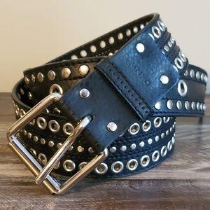 DKNY Silver Studded Black Leather Belt